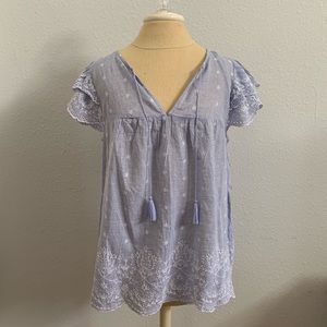 Old Navy Blue Flutter Sleeve Blouse Size M